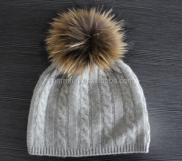 8511344c0f8 Hot Seller 7gg Cable Knit Pure Cashmere Beanie Hat With Fur Pompom ...