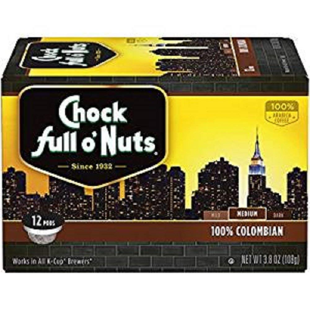 Chock Full O'Nuts, K-Cup Single Serve Coffee, 12 Count, 3.8oz Box (Pack of 3) (Choose Flavors) (100% Colombian Medium Roast)