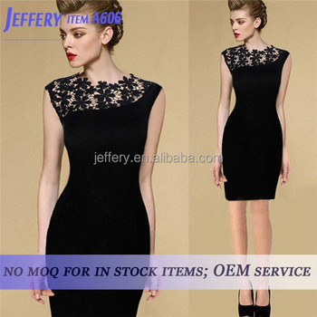 Wholesale Newest women black casual dress lace dress patterns for ...