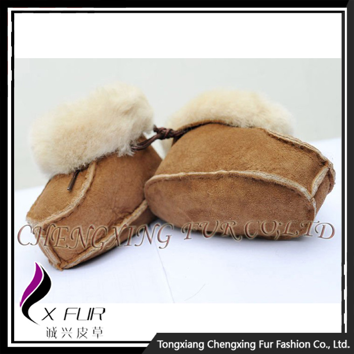 CX-SHOES-05 Wholesale Funny Breathable Genuine Sheep Skin Leather Baby Shoes In Bulk