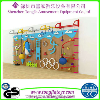 Kids Indoor Climbing Frames Customized Cartoon Wooden Rock Climbing