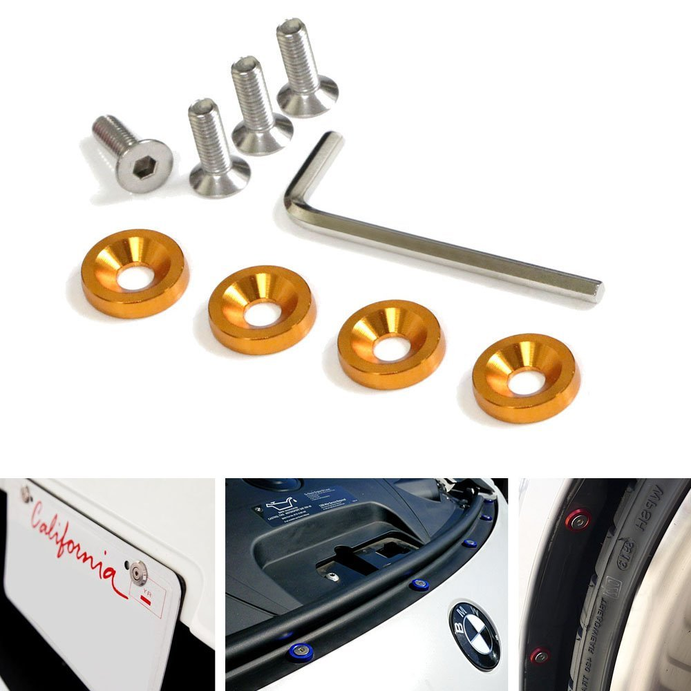 iJDMTOY (4) JDM Racing Style Gold Aluminum Washers Bolts Kit For Car License Plate Frame, Fender, Bumper, Engine Bay, etc