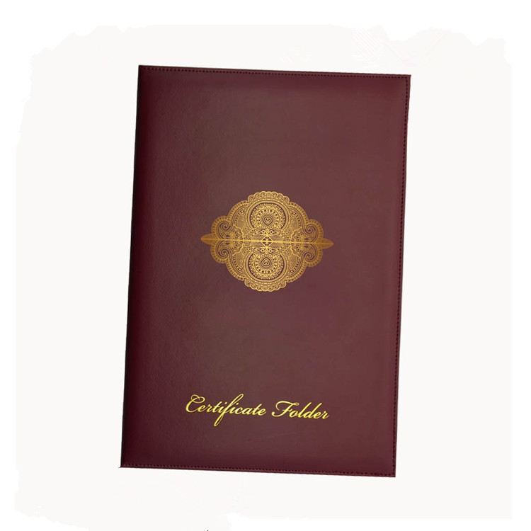 2018 New Product Leather A4 Certificate Paper Holder File Folder