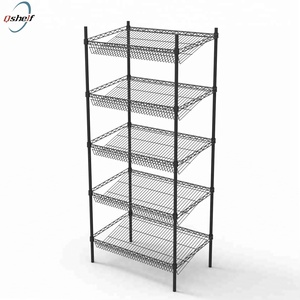Kitchen powder coated chrome five layer bevel wire shelving