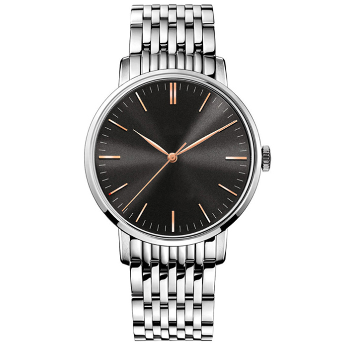 Own Brand Stainless Steel Strap Black Metal Wrist Watch For Mens