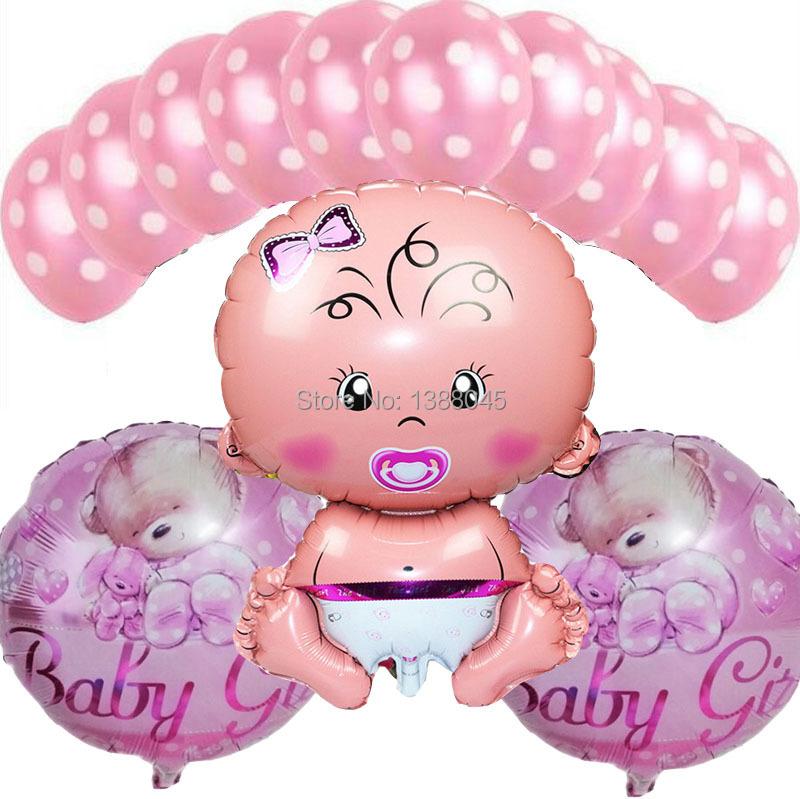 Helium Balloons Baby Shower: 13-Pcs-lot-Baby-Girl-Birthday-Party-Helium-Balloons-Baby