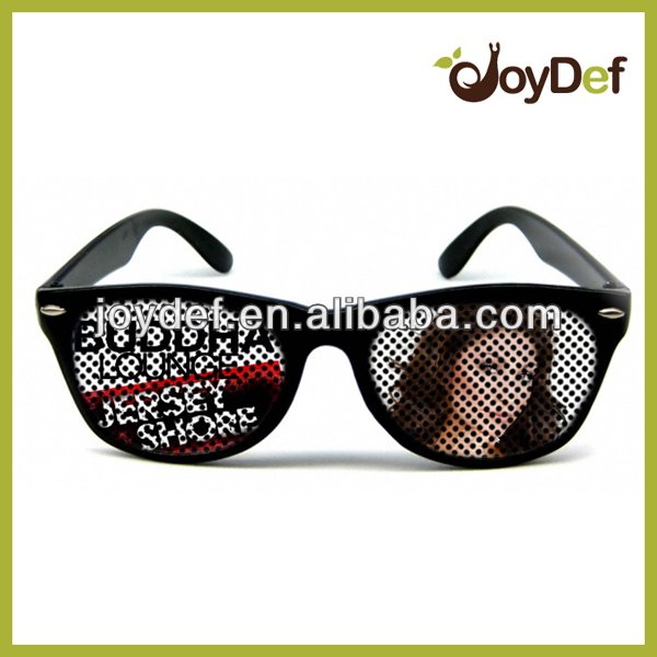 Custom Neon party plastic promotion pin hole glasses