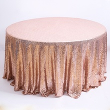 Table brillante or Rose couvre paillettes mariage broderie Banquet Sequin nappe ronde
