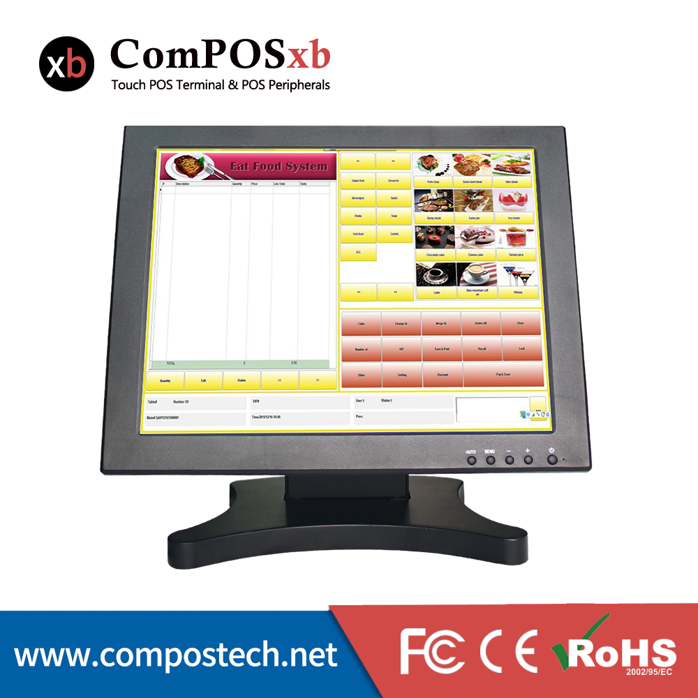 OEM ODM LCD 15inch Touch screen monitor with POS stand heavy stand