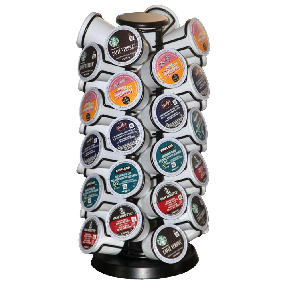 Coffee Pod Holder Carousel Holds 40 Single Cup Coffee Pods in Matte Black