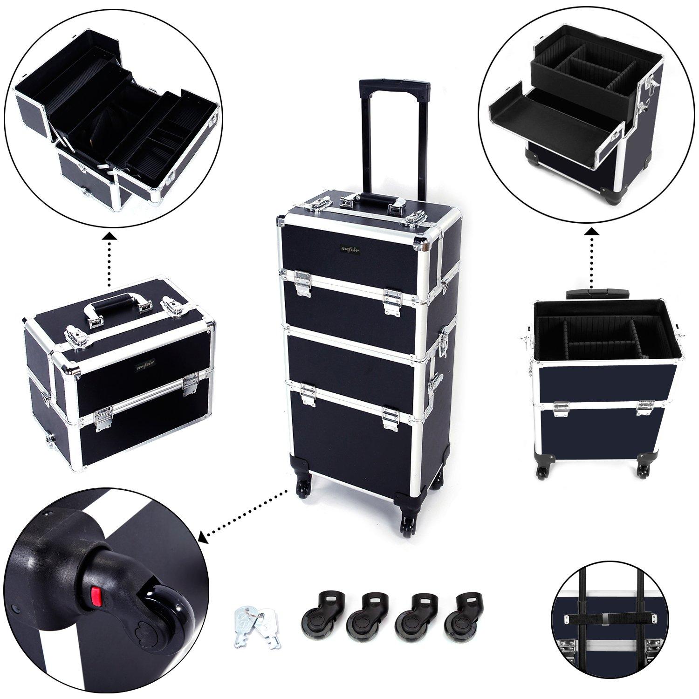 Mefeir 3-in-1 Rolling Makeup Train Case,4 Removable Travel Wheels w/Lockable Keys +Shoulder Strap,Aluminum Cosmetic Trolley Beauty Artist Organizer, Mother's Day Gift (Black)