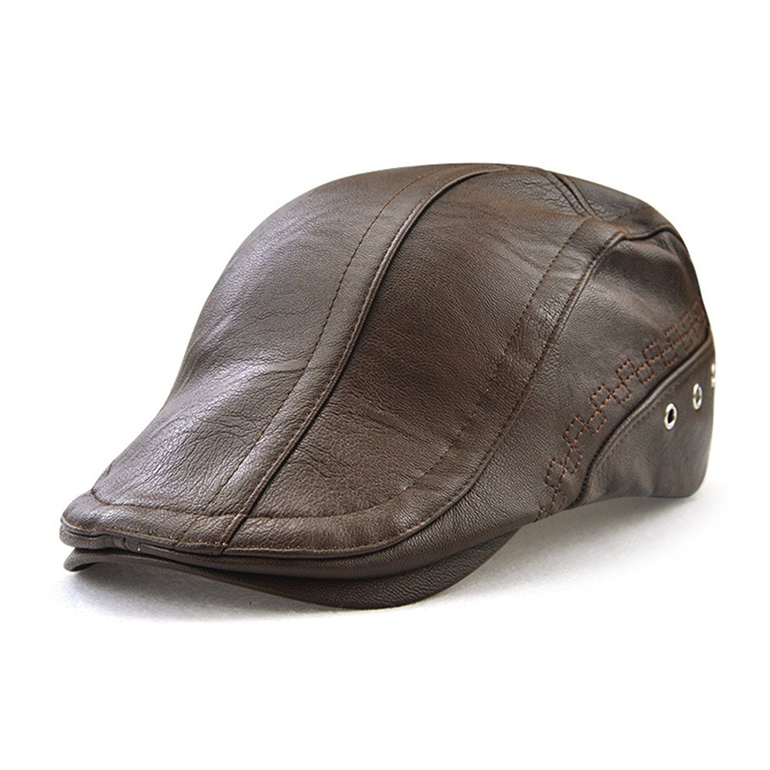 8ce26eb04de0f Get Quotations · PU Faux Leather Flat Cap Duckbill Hat Newsboy Irish Cabbie  Cap Perforated Bandage