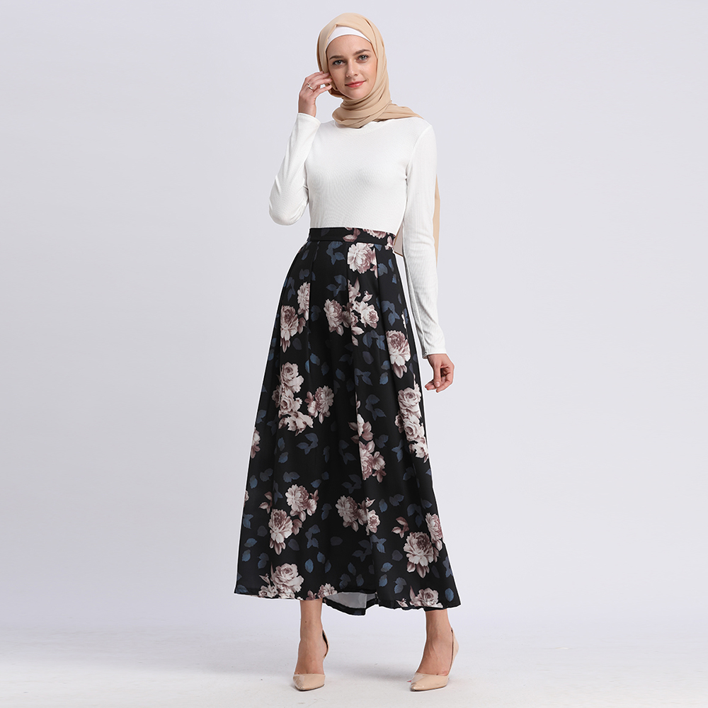 2019 Newest  Fashion  Elegant Modest Women Digital Printing Flower Maxi Skirt