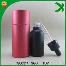 Round 1 oz eliquid matte black glass bottle with paper tube