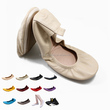 Comfort Women's Stylish Genuine Leather Foldable Portable Pocket Ballet Flat Shoes