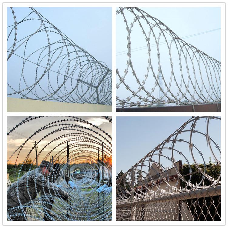 Factory Price Concertina Razor Coils / Razor Barbed Wire For All ...