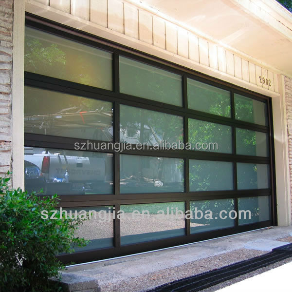 Black Anodized Aluminum Frame Automatic Frosted Tempered Glass Panels Garage Door prices