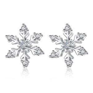 925 Silver Plated Snowflake Stud Earring Cool Fashion Earlobe Jewelry Wedding Gift 2019 Hot Selling Styles Earring