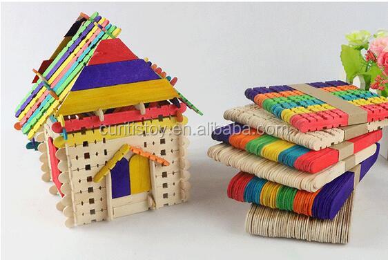50 Klebt Kinder DIY Modell Handgemachte Materialien Farbe Zickzack Wand  Stick Holz Baustein Spielzeug