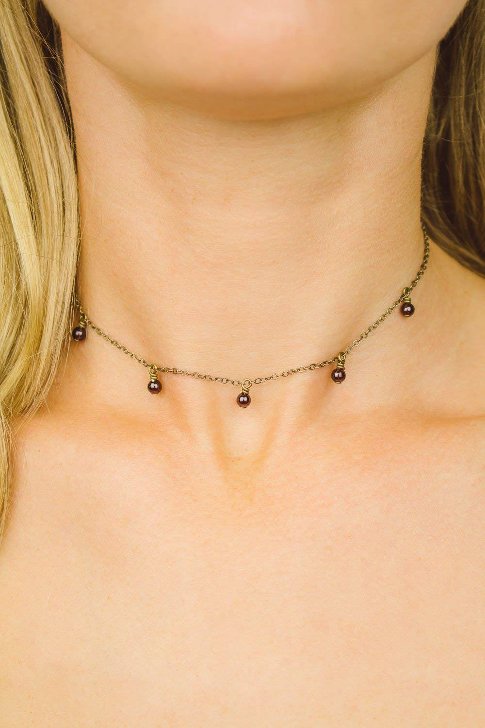 January birthstone Dainty beaded garnet lariat Y necklace in bronze 16 chain with 2 adjustable extender