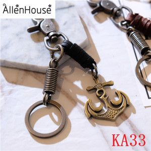 New Design 2018 Promotional Gift Keychain Brass Boat Anchor Shape Leather Keychain