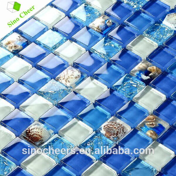 The resin glass mosaic ,crystal glass mosaic resin with shell pattern mosaic for swimming pool or decoration