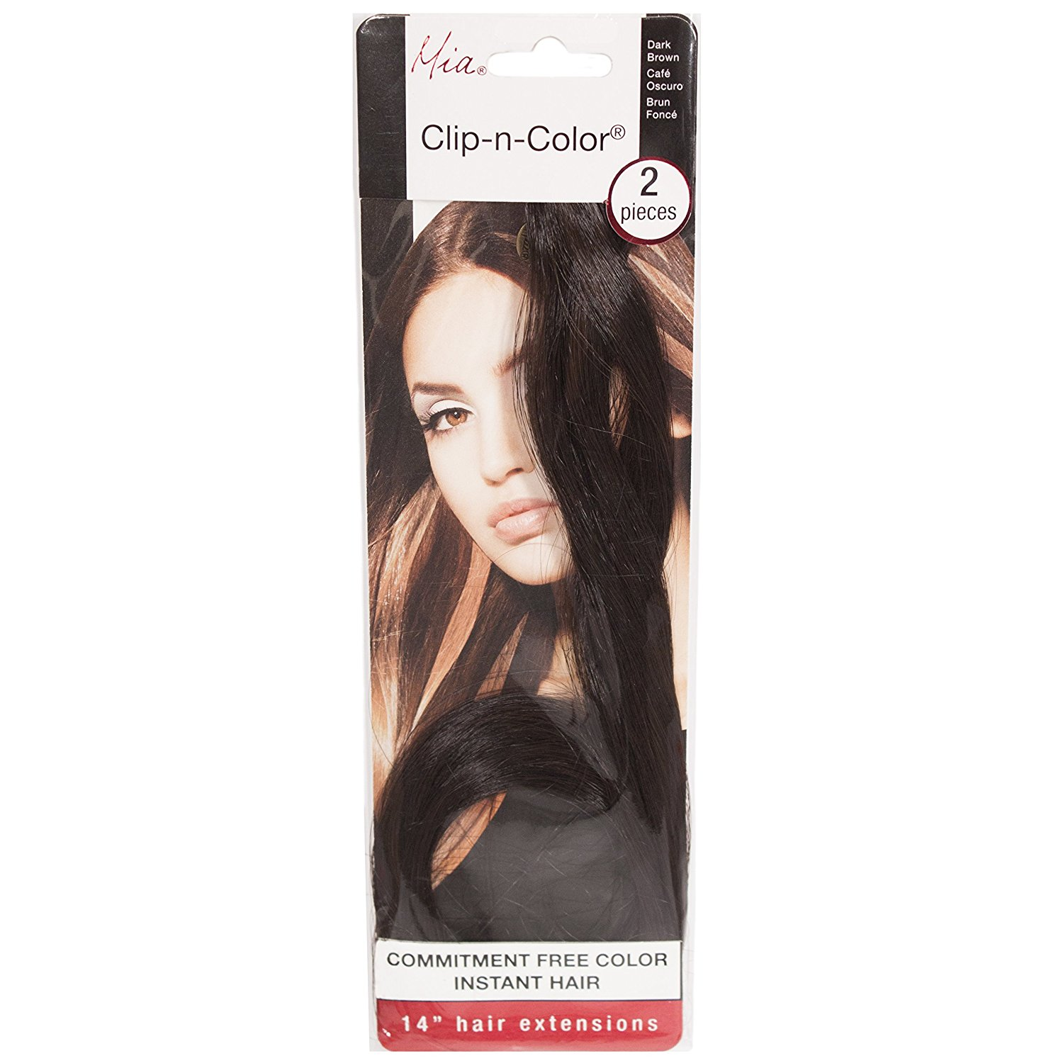 "Mia Clip-n-Color-Synthetic/Faux Wig Hair Extensions On A Weft Clip-Instant Hair, Instant Length, Instant Volume! Two 14"" Long x 1"" Wide Hair Extensions-Dark Brown Color (2 pieces per package)"
