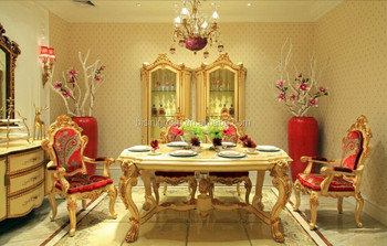 Royal Elegant Italian Design Golden Dining Table With Ruby Red Chairs Luxury European