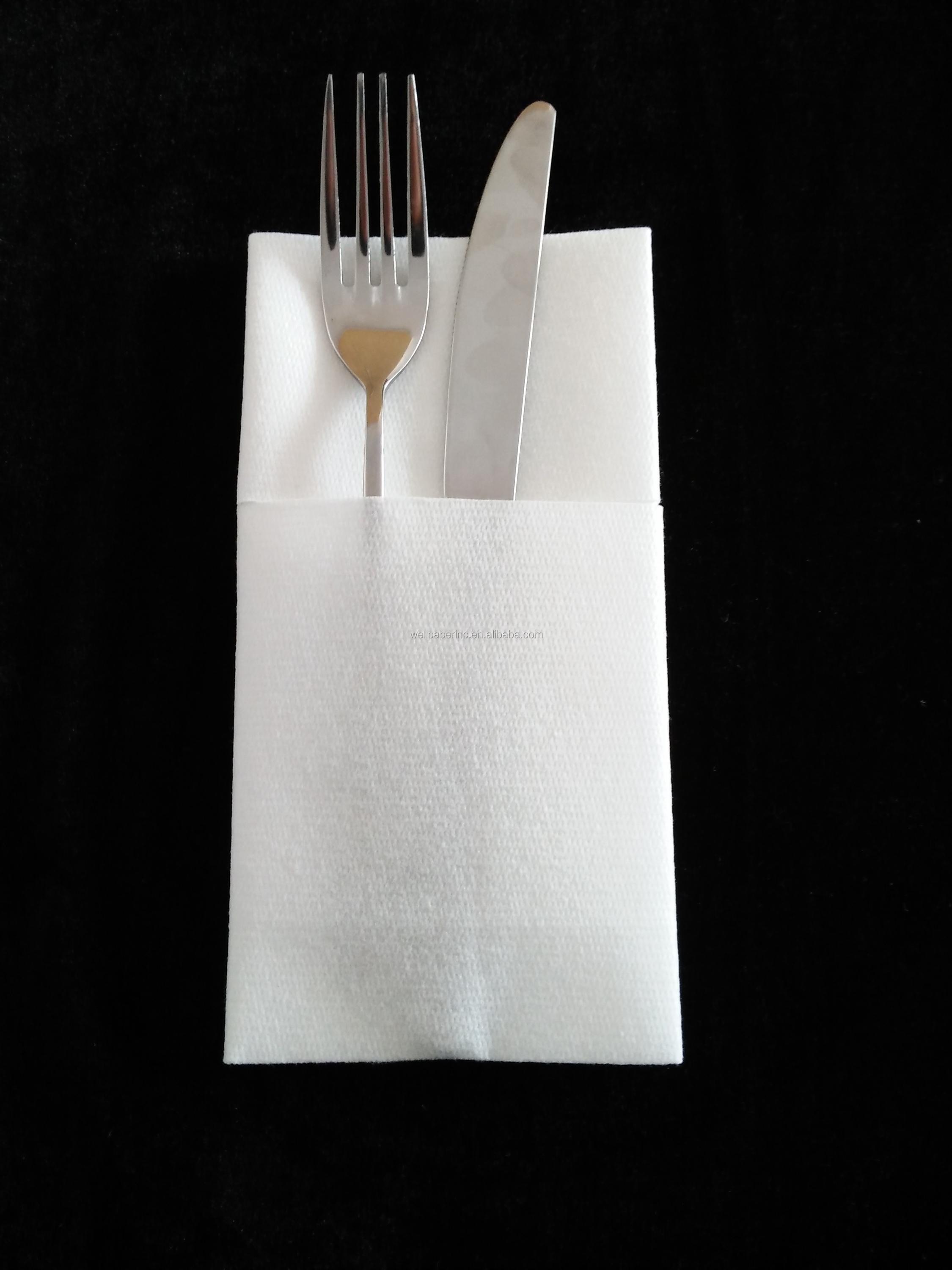 16 Inch 16 Inch 1 8 Fold Biodegradable Disposable Logo Printed Airlaid Cutlery Bag Napkin Buy Airlaid Paper Napkin With Cutlery Paper Bag Disposable Printed Napkin And Cutlery Paper Pocket Biodegradable Cutlery Napkin Product