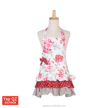 2017 Hot products lady love cooking apron cotton calico Lace fashion apron