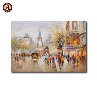 Paris scene oil painting people walking in winter street
