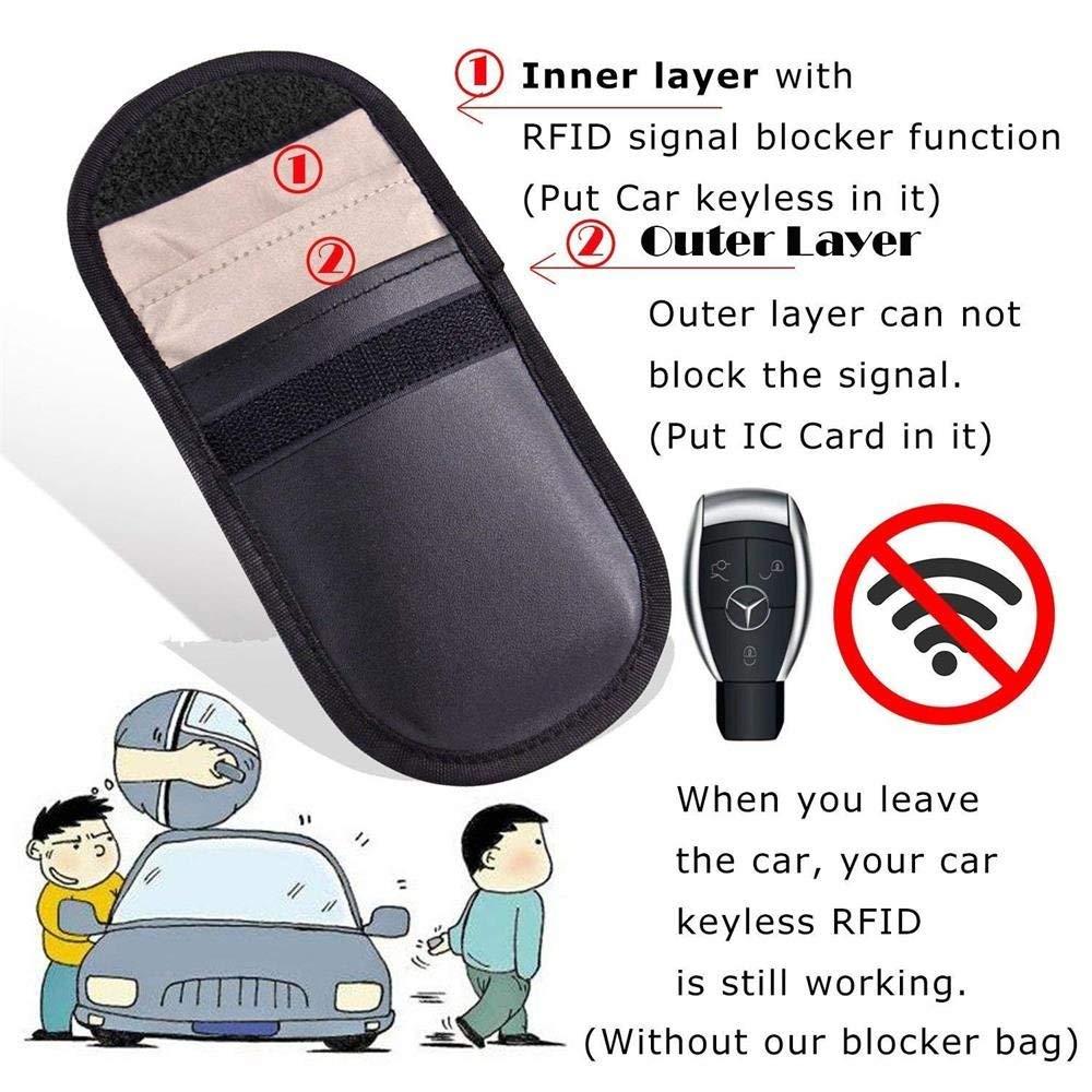 Negro Funda Faraday Llave Coche,Llave Coche Rfid,Bloqueador de Se/ñal,Keyless Go Protecci/ón,Bloqueador de Wifi//GSM//LTE//NFC//RFID