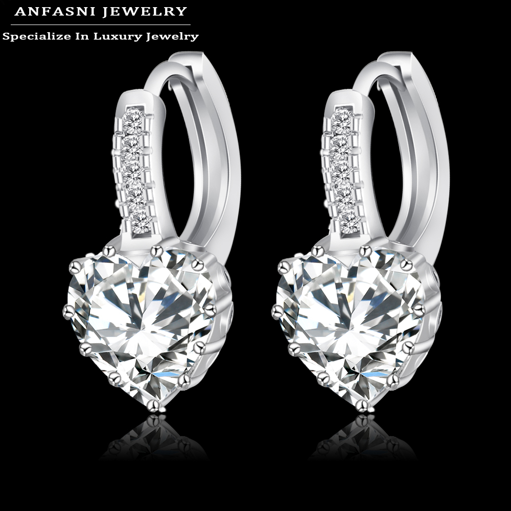 2016 Top Selling Real Platinum Plated Luxury Hoop Earring Inlay Zircon Fashion Brilliant Heart Ladies Wedding