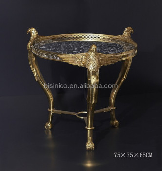 French Style Vintage Round Side Table, Bronze Inlaid Baroque Coffee Table