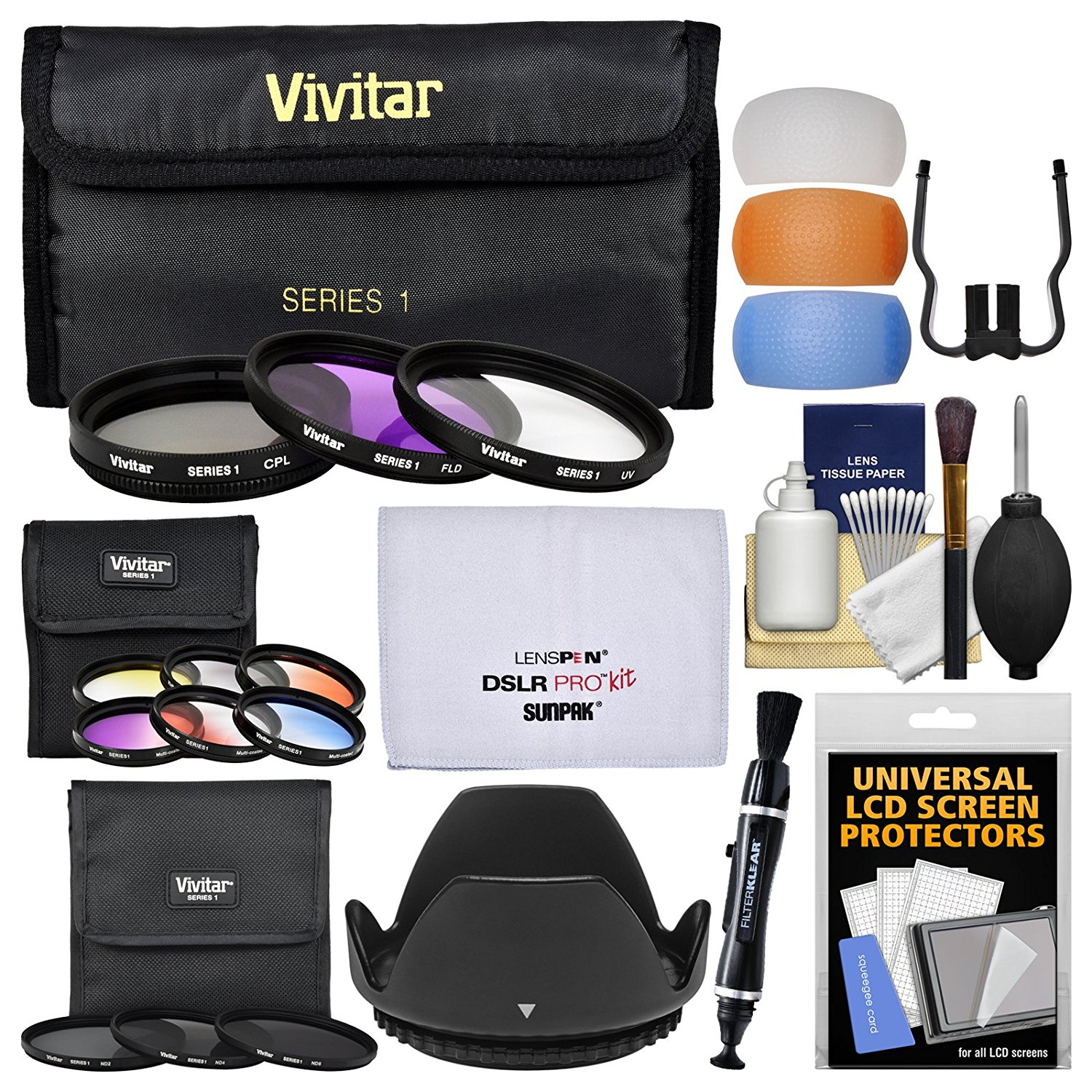 Vivitar 49mm 12-Piece Multi-Coated Glass Filter Kit (UV/FLD/CPL, 3 Neutral Density & 6 Graduated Color Filters) + Lens Hood + Flash Diffusers + Kit