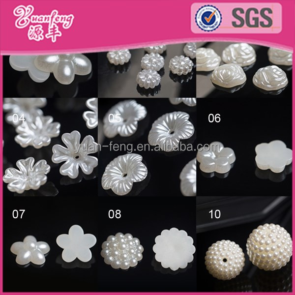 Bead landing wholesale custom ABS imitation flower shape faux half pearl all types of beads for clothes
