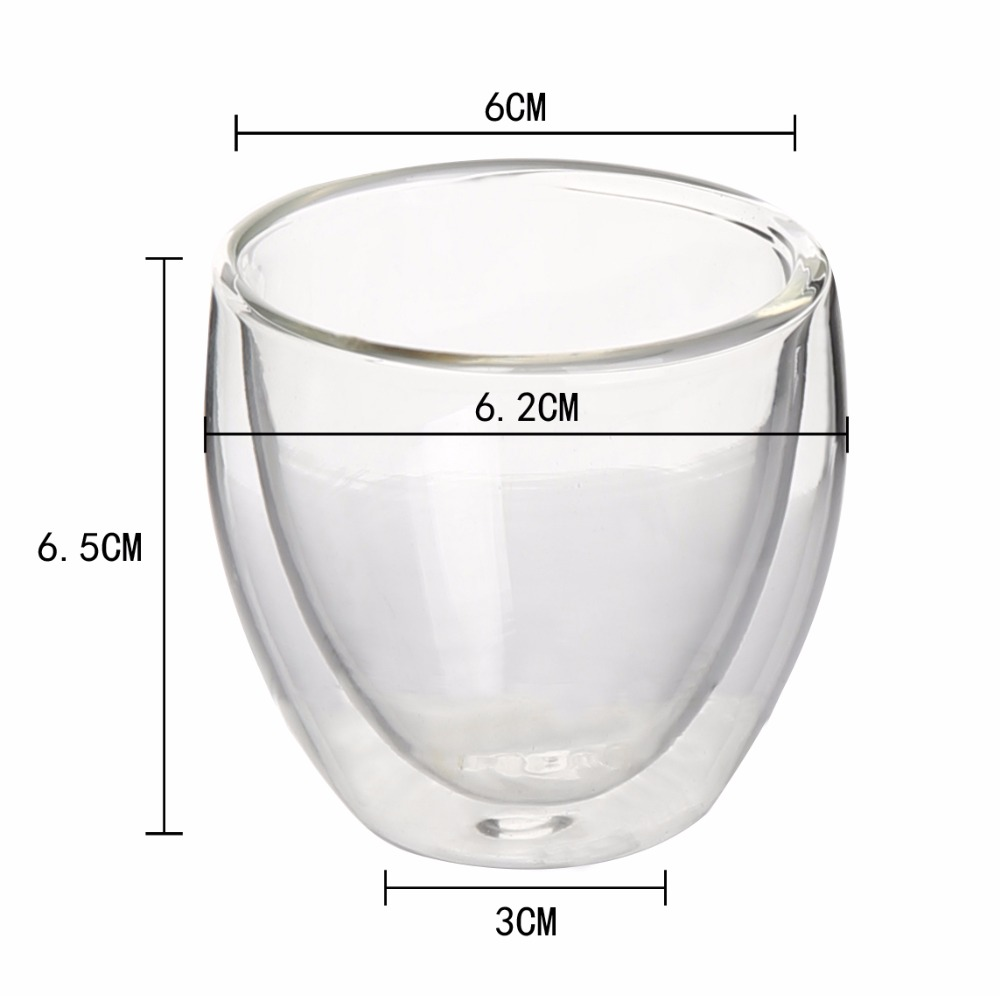 80ML Handmade Heat-Resisting Clear Glass Tea Cups Mugs/glass cup
