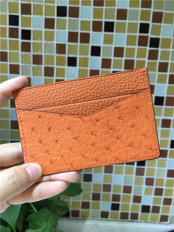 100% real ostrich skin business card holders customized genuine leather card holder