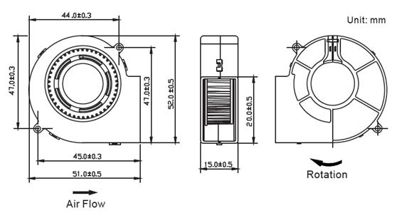 Coolcox 5015 Small Blower Fan 50x50x15mm Mini Turbo Fan 5v
