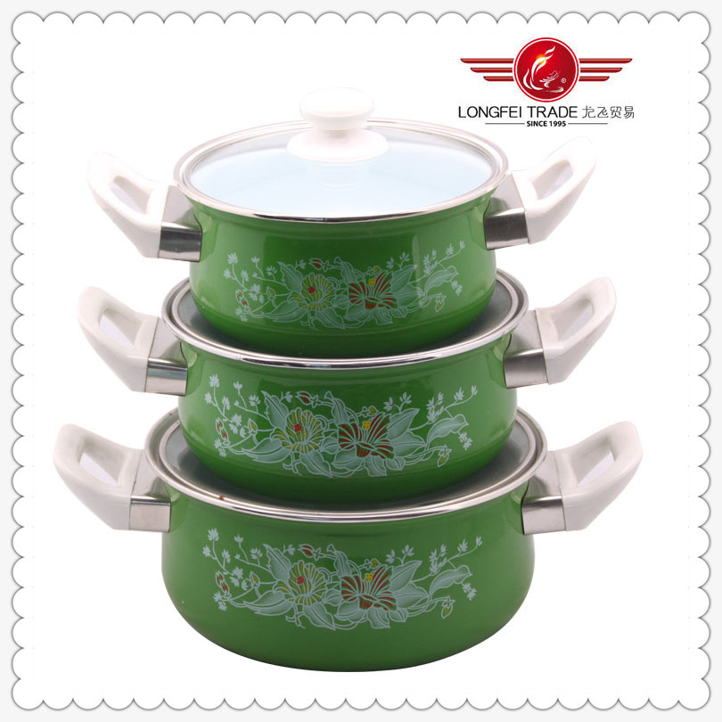 3PCS Set With Bakelite Handle Enamelware Cookware
