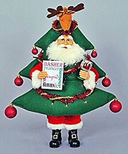 Christmas Decorations - Santa Wearing a Lighted Christmas Tree Costume With a Reindeer Tree Topper