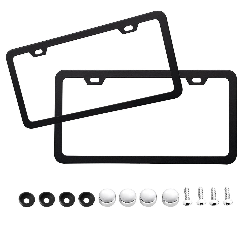 Buy Stainless Steel Matte Flat Black License Plate Holder Frame ...