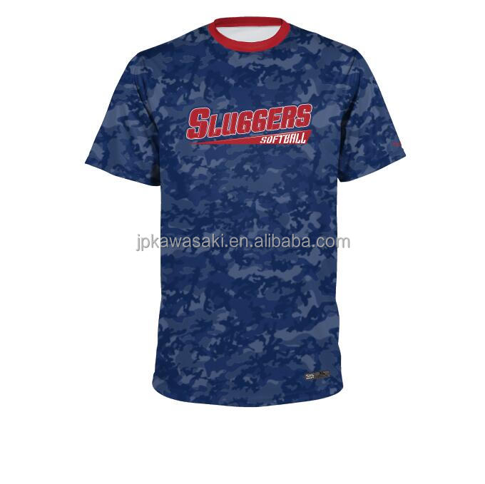 Oem custom made gesublimeerd marineblauw camo softbal honkbal uniform jerseys