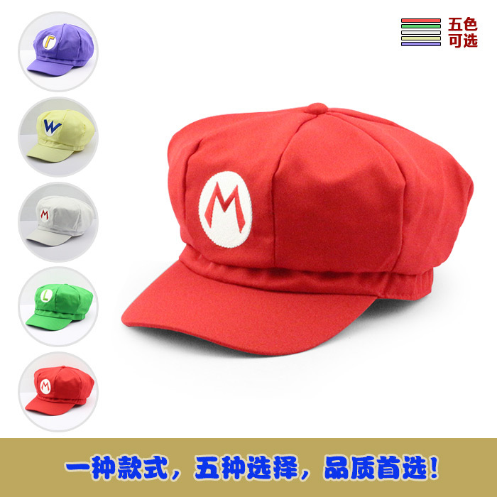Super Mario Cotton Caps hat Red Mario and luigi cap 5 colors Anime Cosplay Halloween Costume