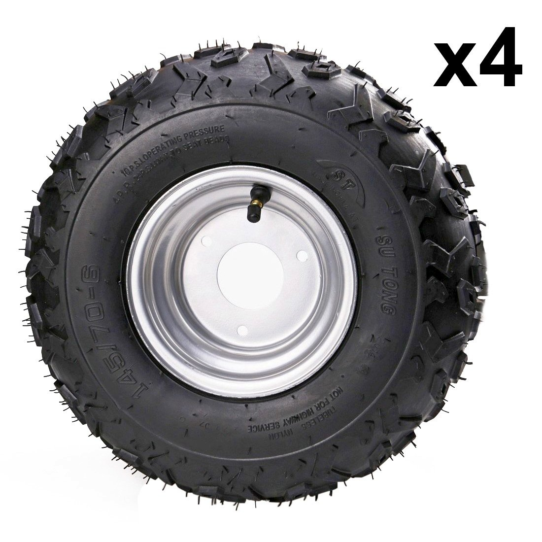 JCMOTO Set Of Four ATV Go Kart Tires 145/70-6 With 6 inch Wheels Rims (4pcs)