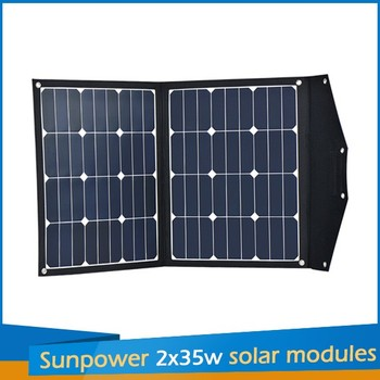 Customized designed 2x35w sunpower solar charger panels from sungold