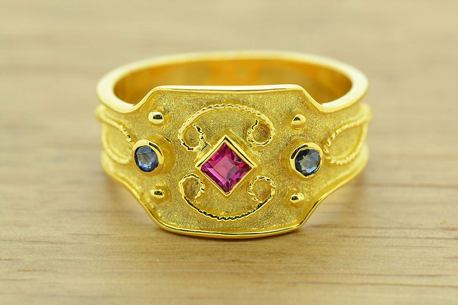 Princess Cut Ruby Oval Sapphire Ring Byzantine Style 925 Sterling Silver 22K Gold Plated Greek Handmade Art Ring, Byzantine Rubies Sapphires CZ Ring, 22K Gold Plated Ring, CZ Band Ring, Sterling Silver Ring, Etruscan Style Ring, Byzantine Ring, Greek Jewelry, Luxury Ring, Medieval Ring, Elegant