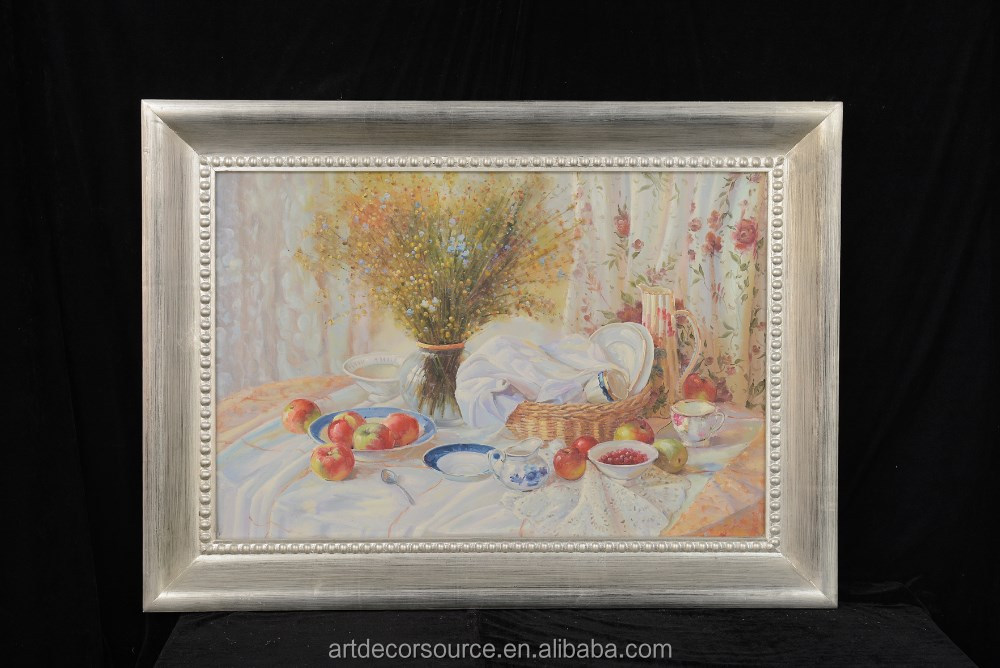 Still Life Oil Paintings with Silver Wash Frame
