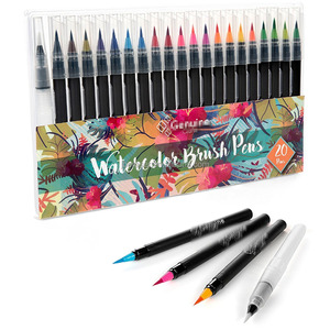 Real Watercolor Brush Pen set with 1 Water Brush Pen, Soft Flexible Tip brush marker for Coloring Books,calligraphy brush pen