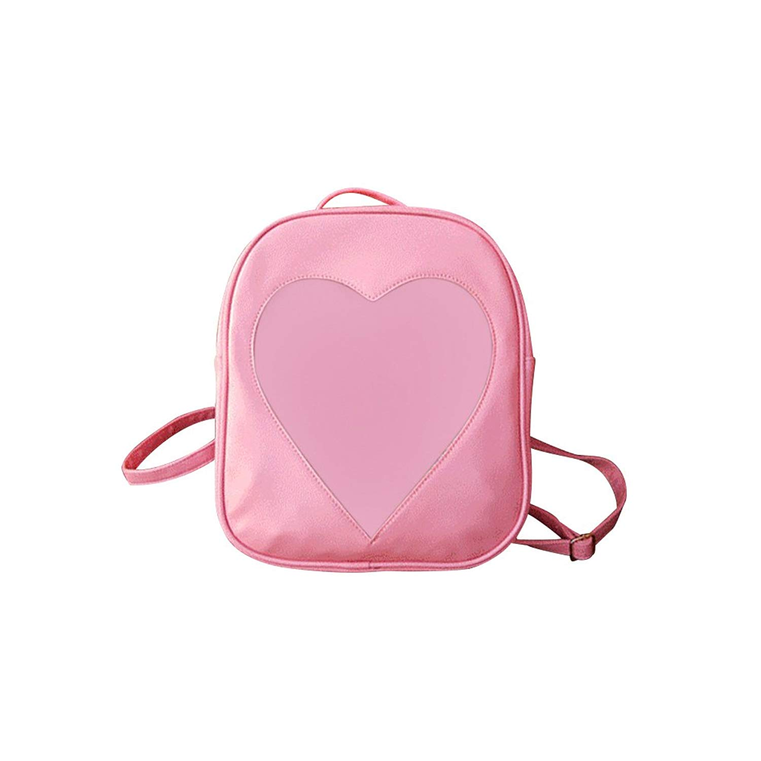 OULII Transparent PU Leather Backpack Heart Shaped Zip Closure Daypacks for Women Girls (Pink)